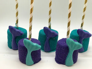 Mermaid Tail Chocolate Covered Marshmallows, One Dozen