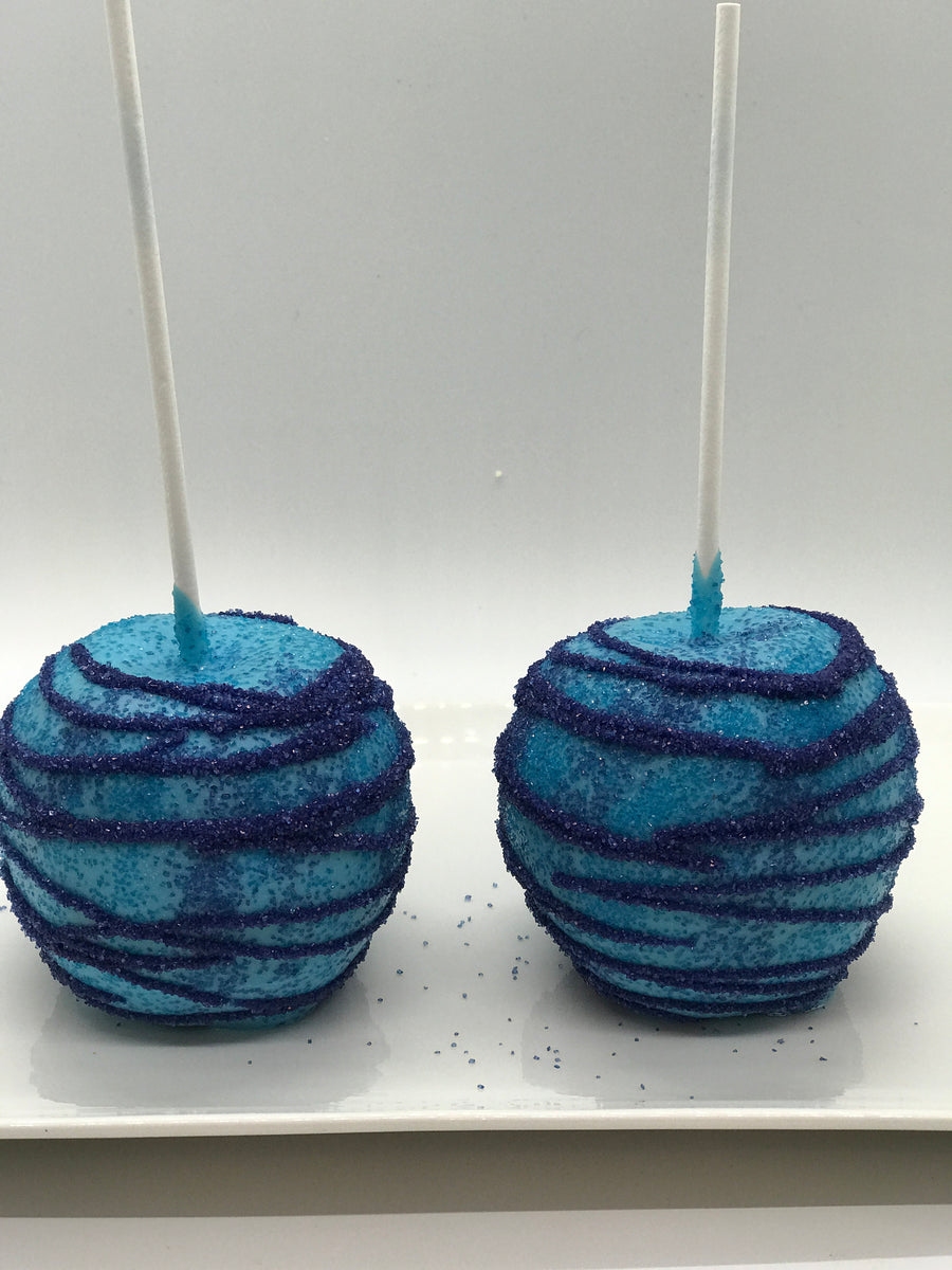 Light Blue Chocolate Covered Apple with Blue Drizzled Sprinkles