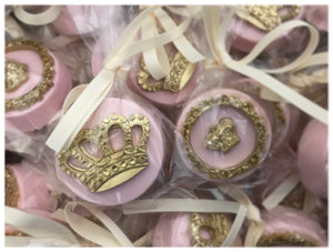 Pink Princess Crown Chocolate Covered Oreos