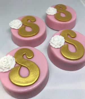 Initial Monogram Chocolate Covered Oreos in Pink and Gold with White Flower