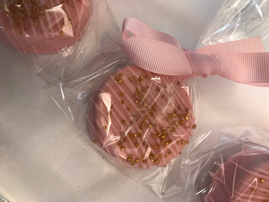 Pink and Pink Drizzle Chocolate Covered Oreos with Gold Sprinkles