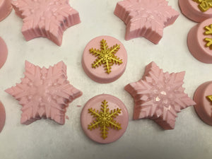 Pink Winter Wonderland Snowflake Chocolate Covered Oreos, Gold Snowflakes