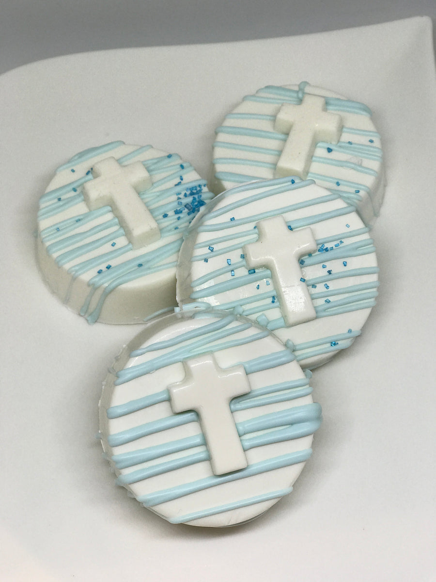 Blue and White Cross Chocolate Covered Oreos