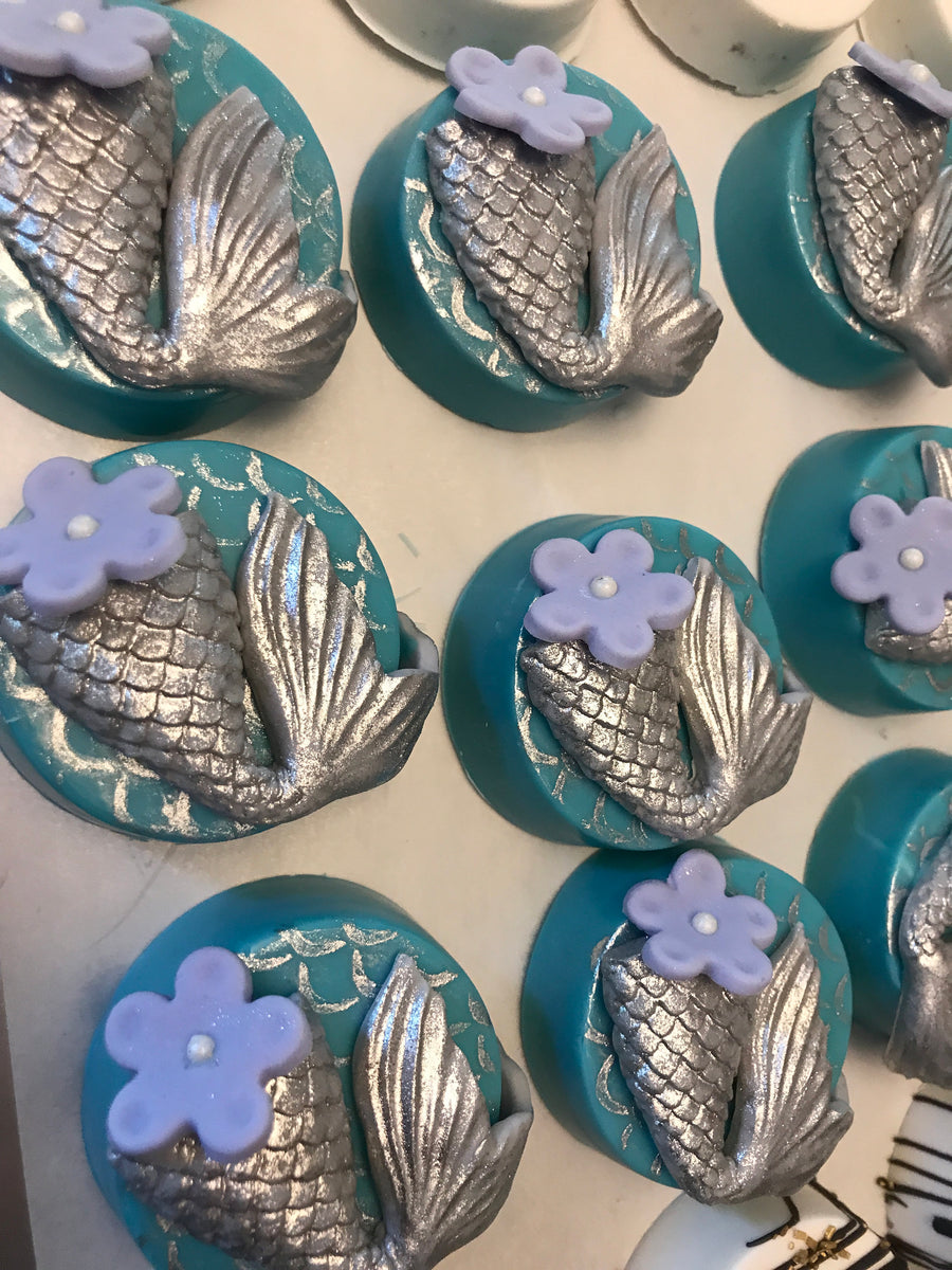Silver Mermaid Tail Chocolate Covered Oreos