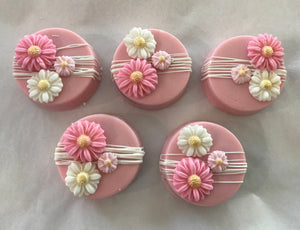 Pink and White Drizzled Flower Chocolate Covered Oreos