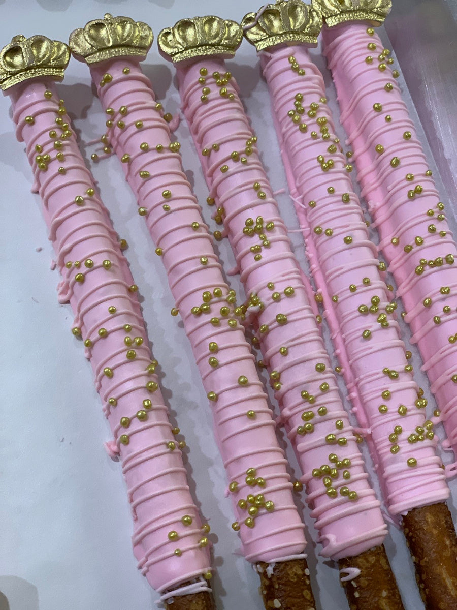 Royal Princess Light Baby Pink Chocolate Covered Pretzels with Edible Crown and Gold Sprinkles