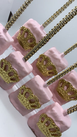 Light Baby Pink Royal Chocolate Covered Rice Krispies with Edible Crown | Princess Queen Theme