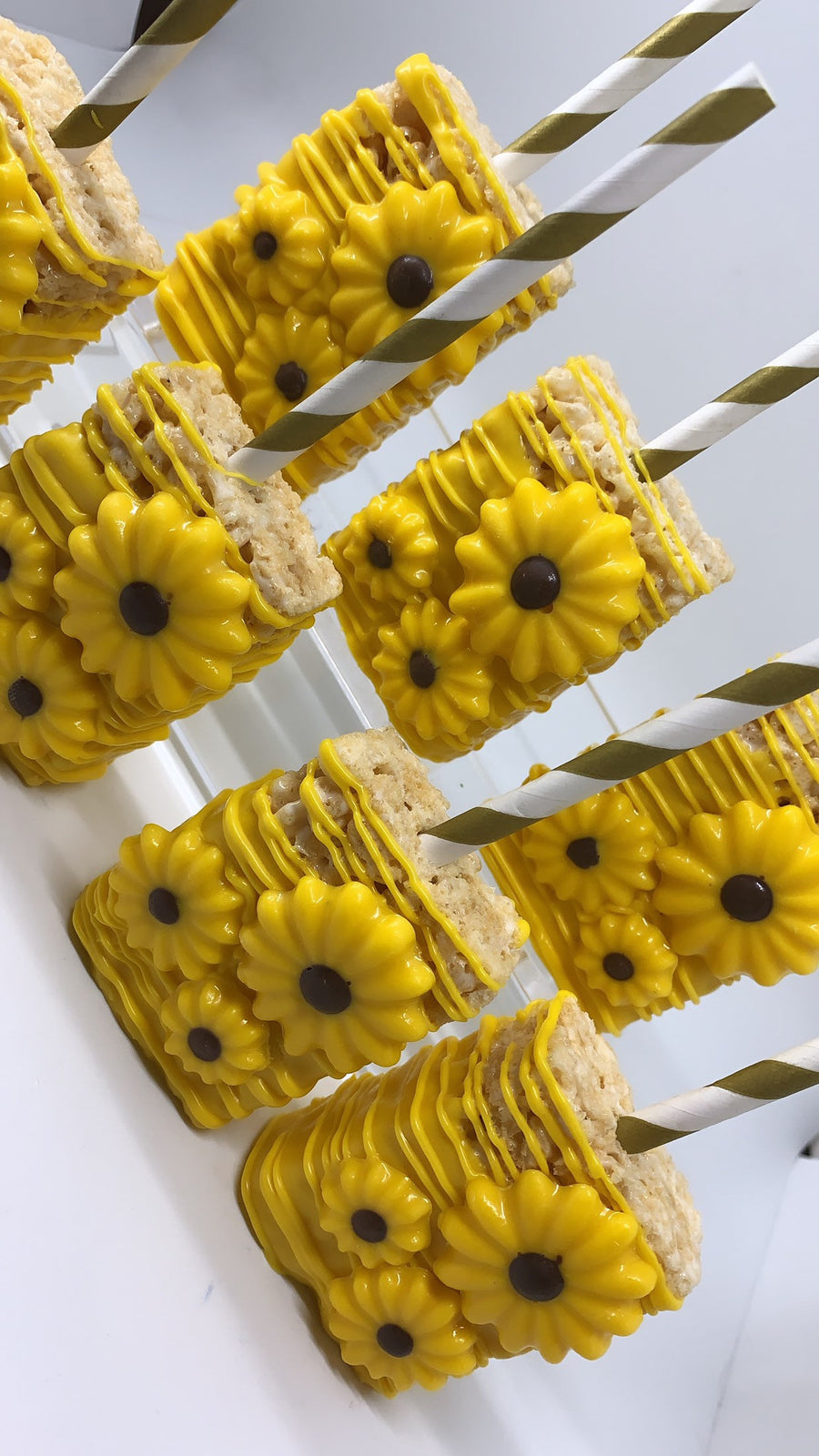 Sunflower Theme Chocolate Covered Rice Krispie Treats | Yellow Rice Krispies with Edible Flower