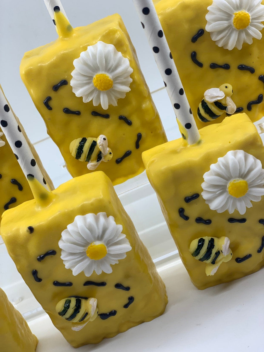 Black and Yellow Bee Rice Krispie Treats | Bumble Bee Theme