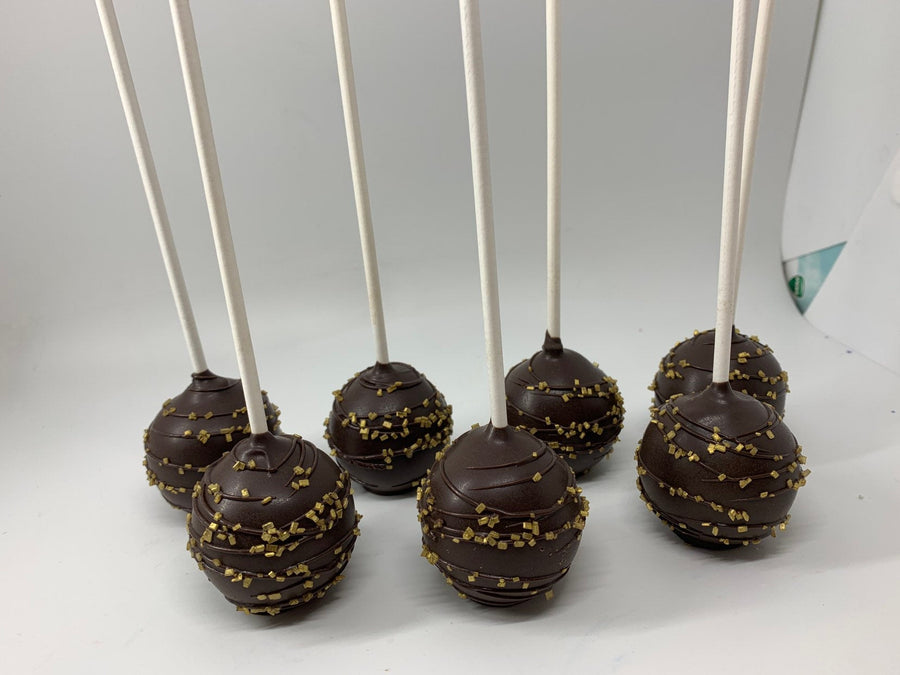 Brown and Gold Cake Pops with Sprinkles