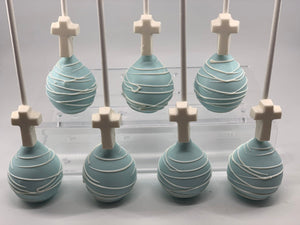Light Blue Cross Cake Pops