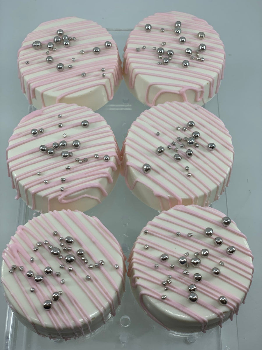 Pink Drizzle Chocolate Covered Oreos with Silver Pearls