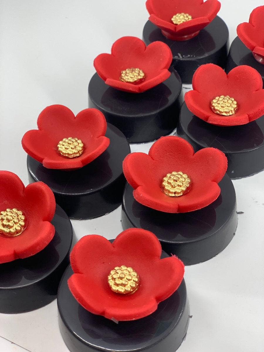 Chocolate Covered Oreos with Red Flower