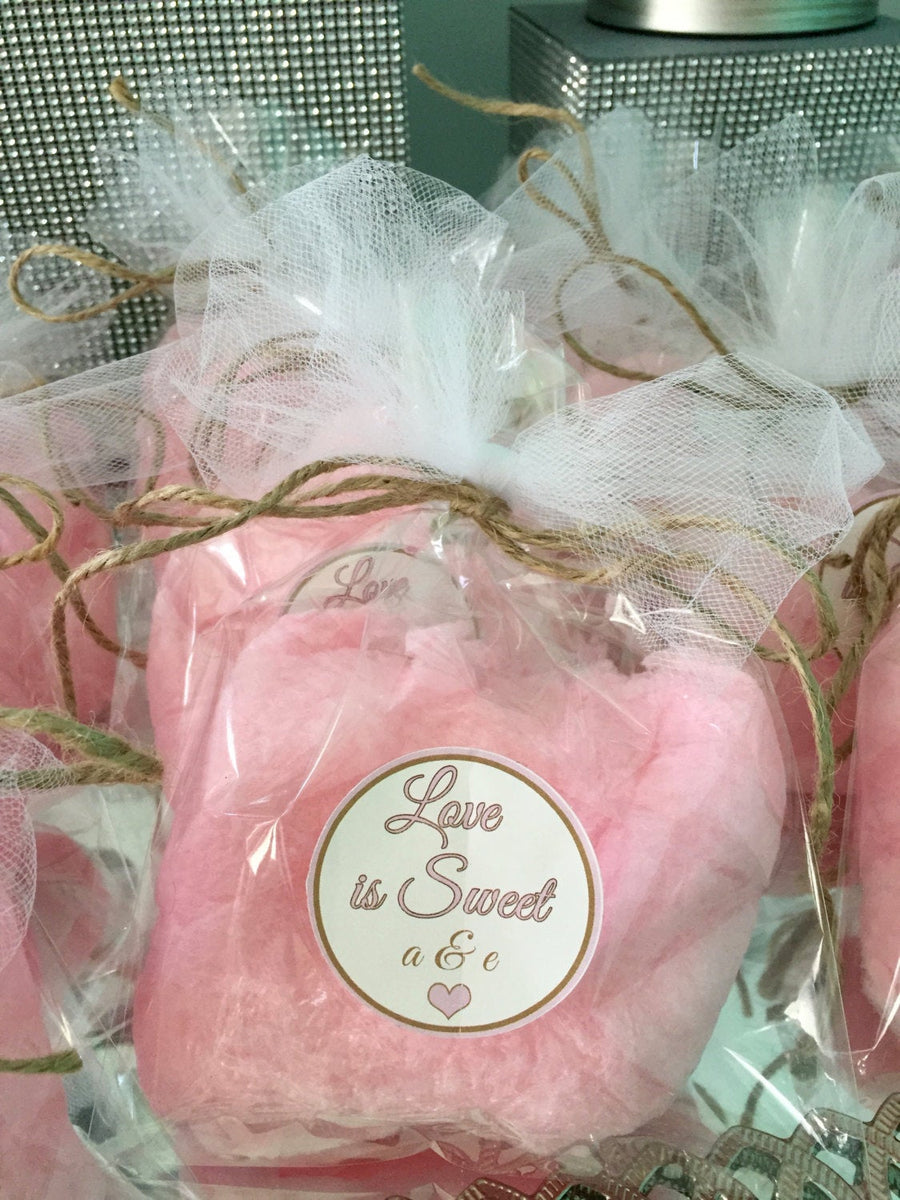 12 Rustic & Glam Theme Cotton Candy Party Favors with Custom Label