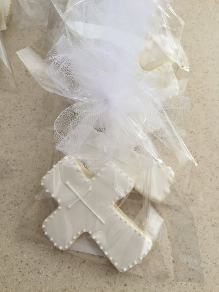 White Religious Cross Sugar Cookie | Communion Baptism Cookies