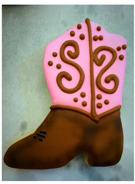 Pink Cowgirl Boot Sugar Cookies