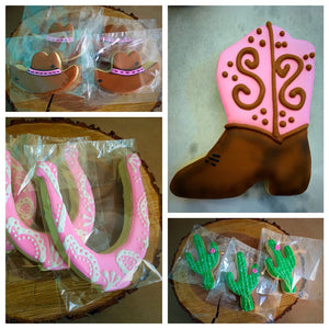 Western Theme Sugar Cookies Assortment | Cowgirl Boots Horseshoe Cactus Cowgirl Hat Cookies