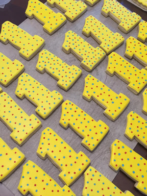 Number Birthday Cookie with Polka Dots