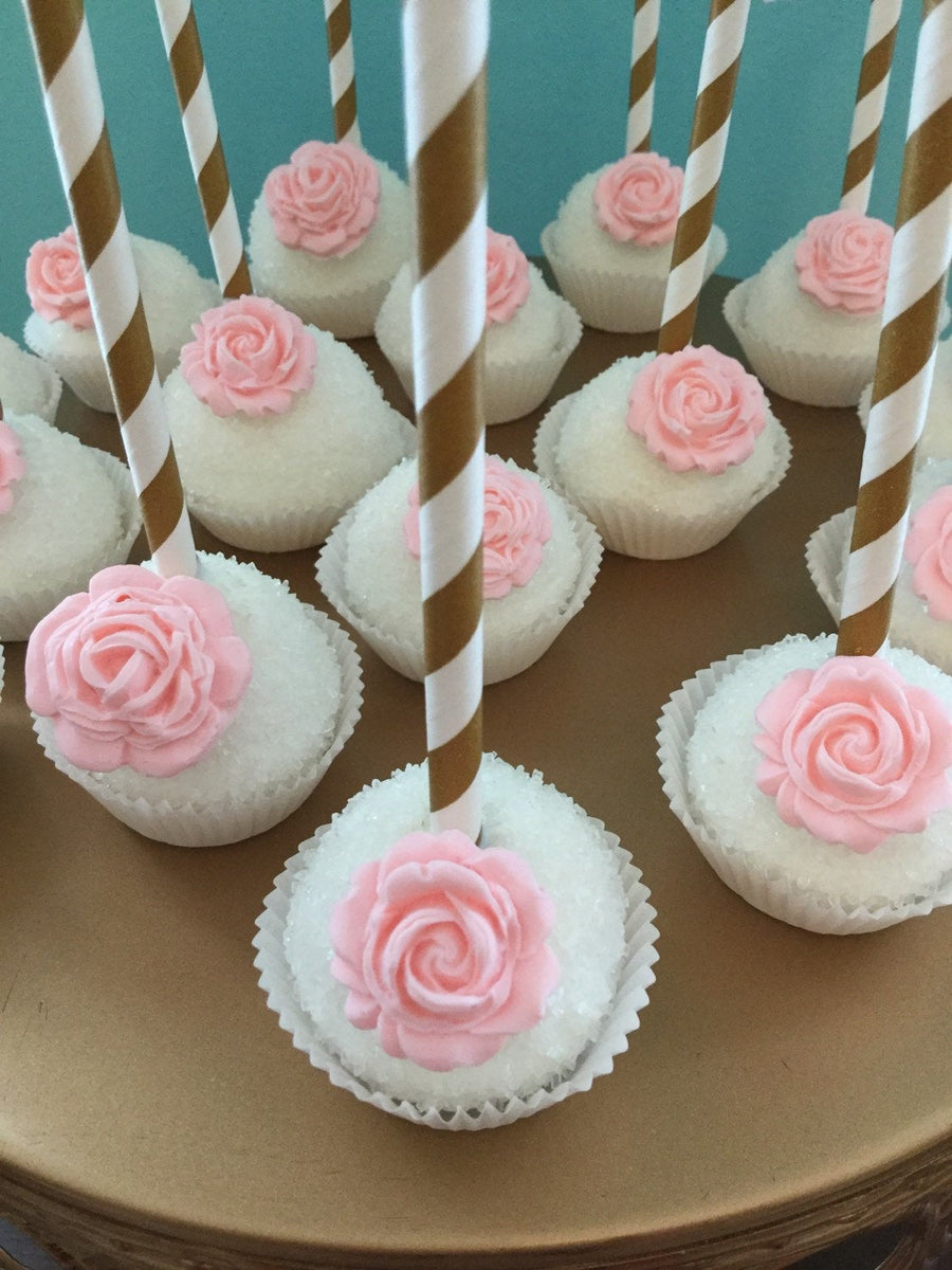 White Sparkling Sprinkle Cake Pops with Edible Chocolate Rose