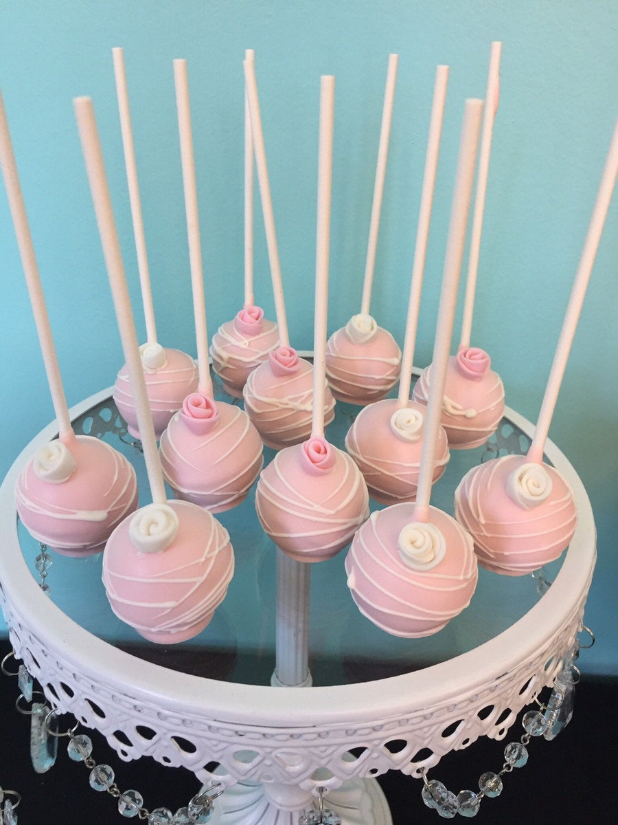 Pink and White Drizzled Cake Pops