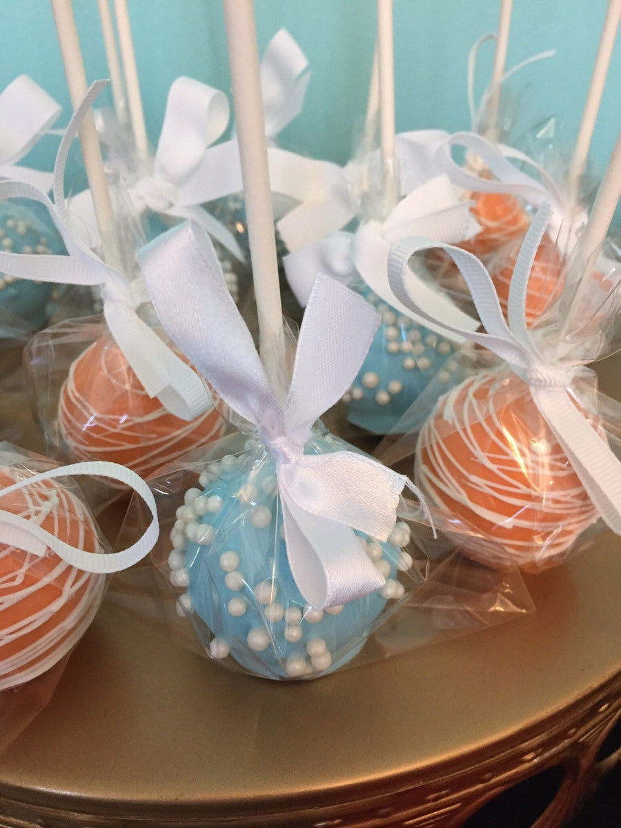 Orange and Blue Decorated Cake Pops