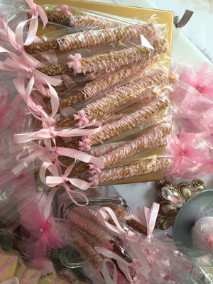 Pink and Gold Chocolate Covered Pretzel with Edible Bow