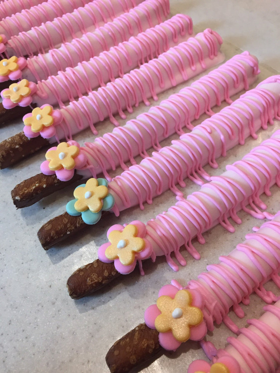 Baby Light Pink Chocolate Covered Pretzel with Edible Flower