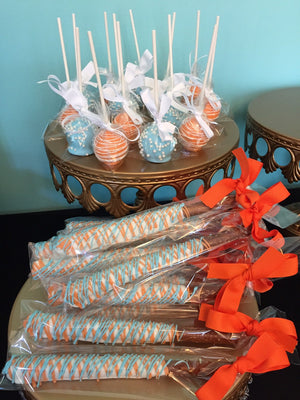 Blue and Orange Chocolate Covered Pretzels