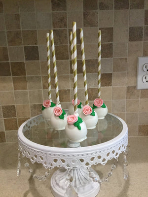 Rose Flower and Leaf Decorated Colorful Cake Pops