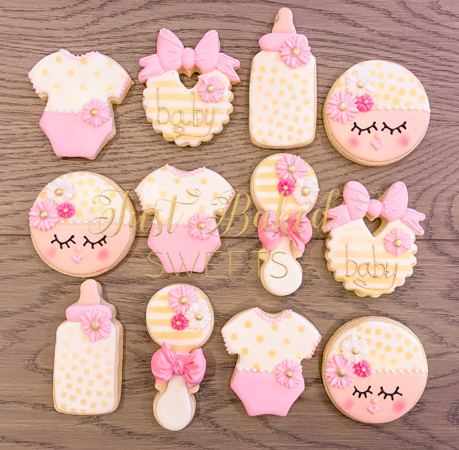 Pink and Gold Baby Shower Cookie Assortment