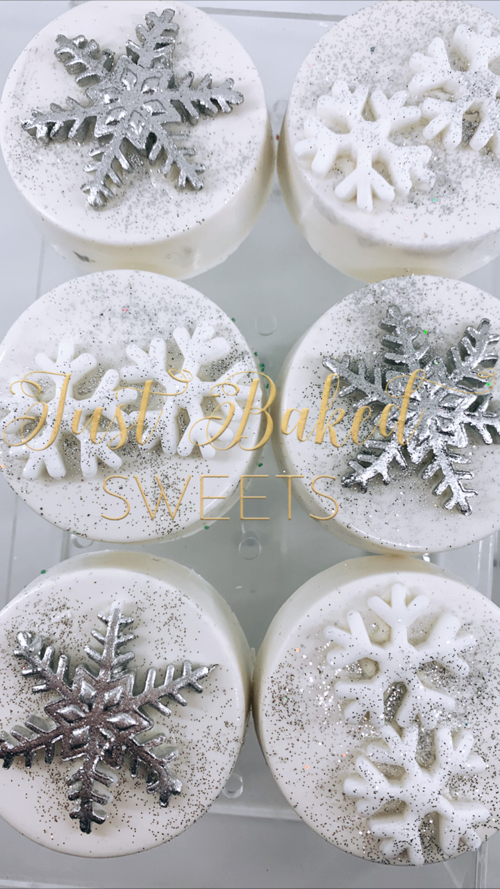Sparkly Silver and White Snowflake Chocolate Covered