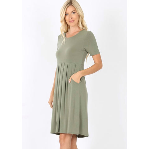 Savvy Premium Pleated Dress - Light Olive