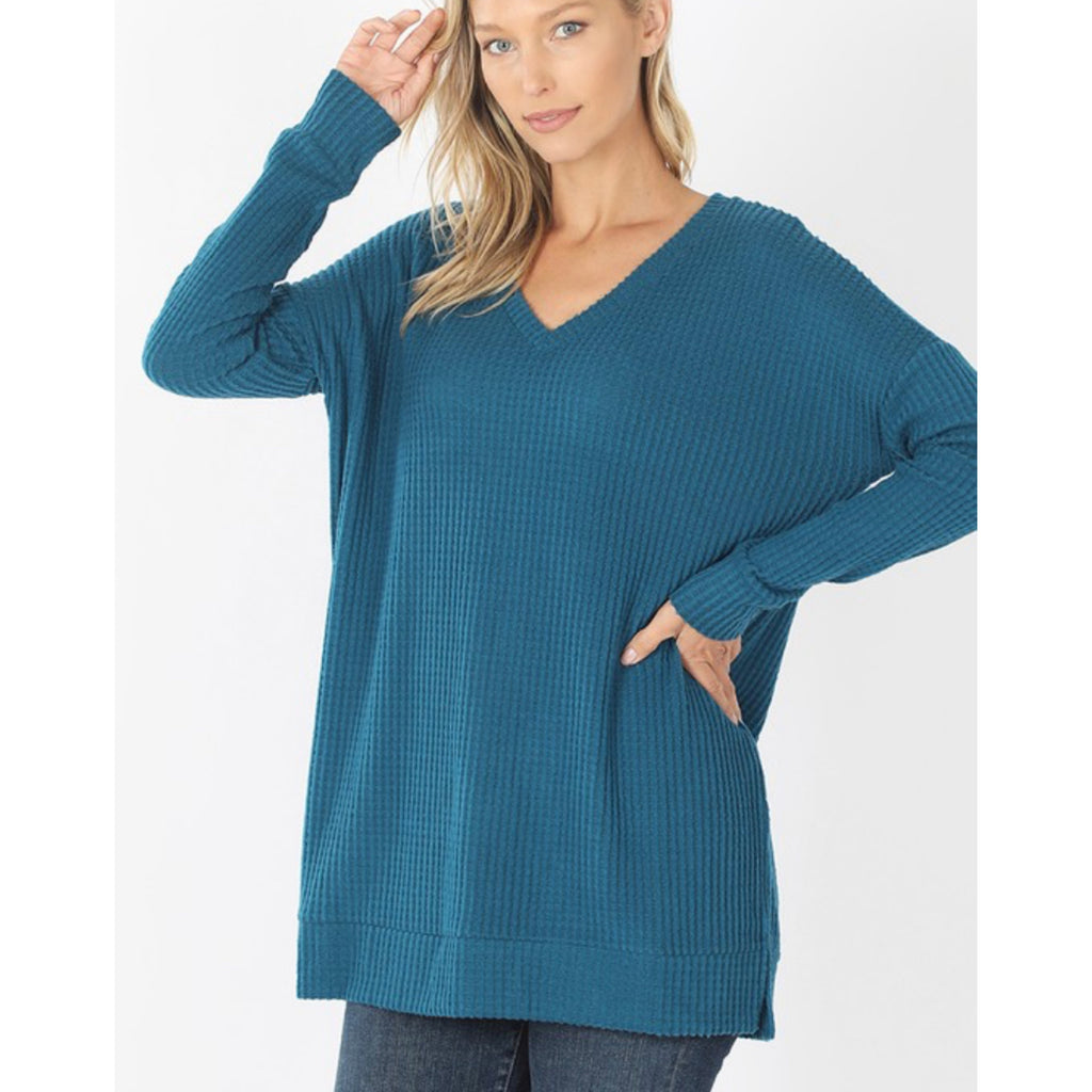 Brushed Sweater Shirt - Teal