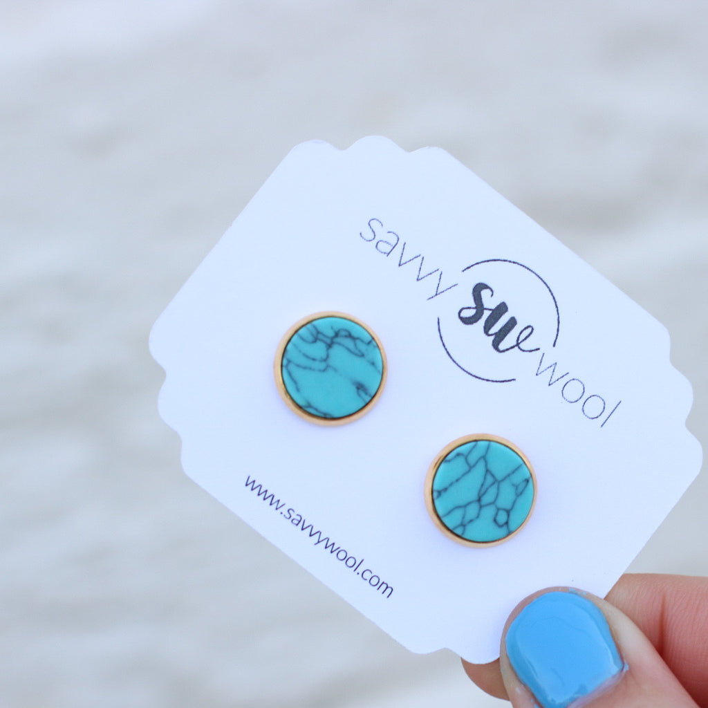 Savvy Studs - Marbled Turquoise II