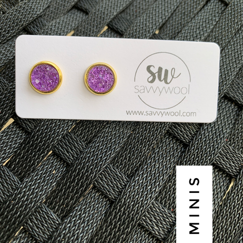 8MM Druzy Earrings - Hot Purple