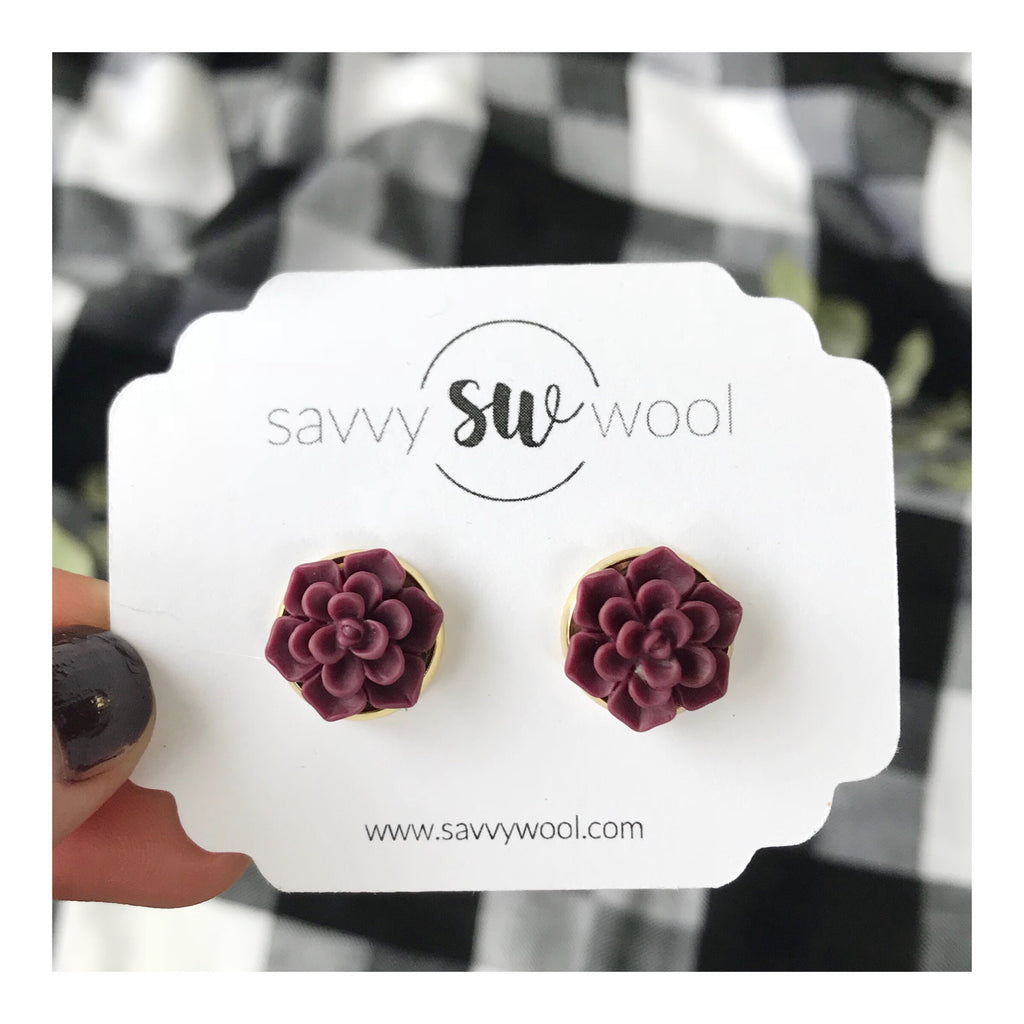 12MM Burgundy Succulent Druzy Earrings