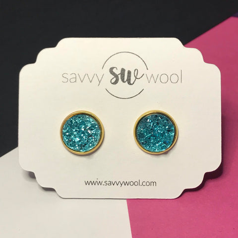 12MM Druzy Earrings -  Caribbean