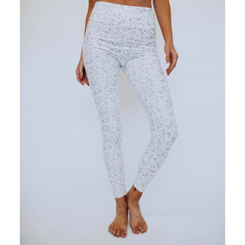 White and Mocha Leaf Print Leggings
