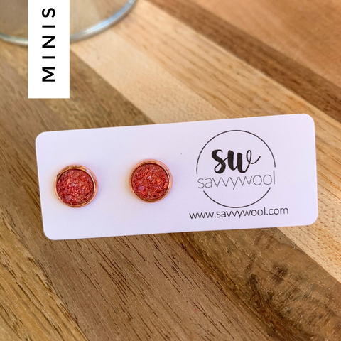 8MM Druzy Earrings - Strawberry
