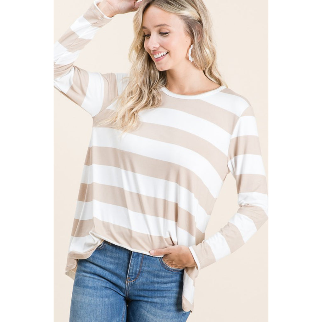 Casual Bold Striped Top - Taupe