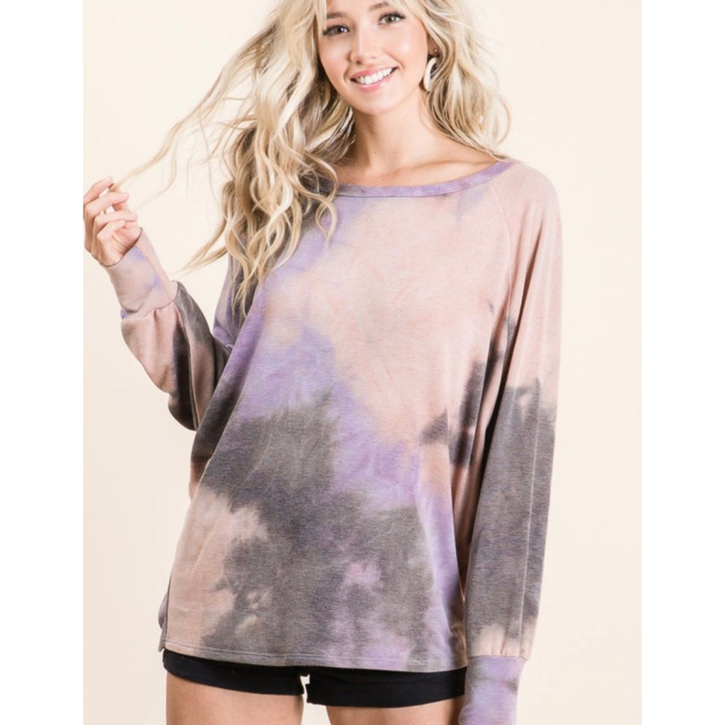 Tie Dye Pull Over - Charcoal/Purple