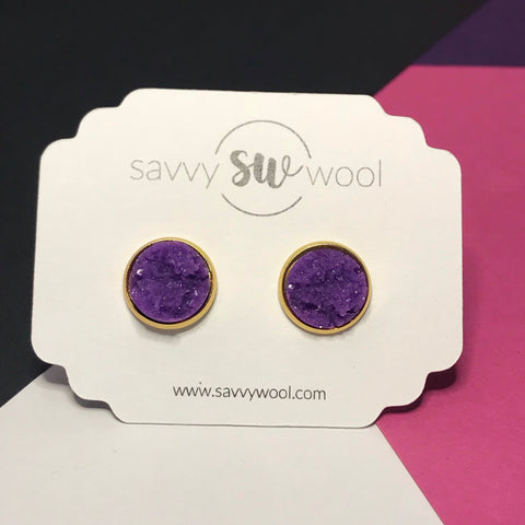 12MM Druzy Earrings -  Purple
