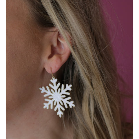 Snowflake Statement Earrings - Snow White