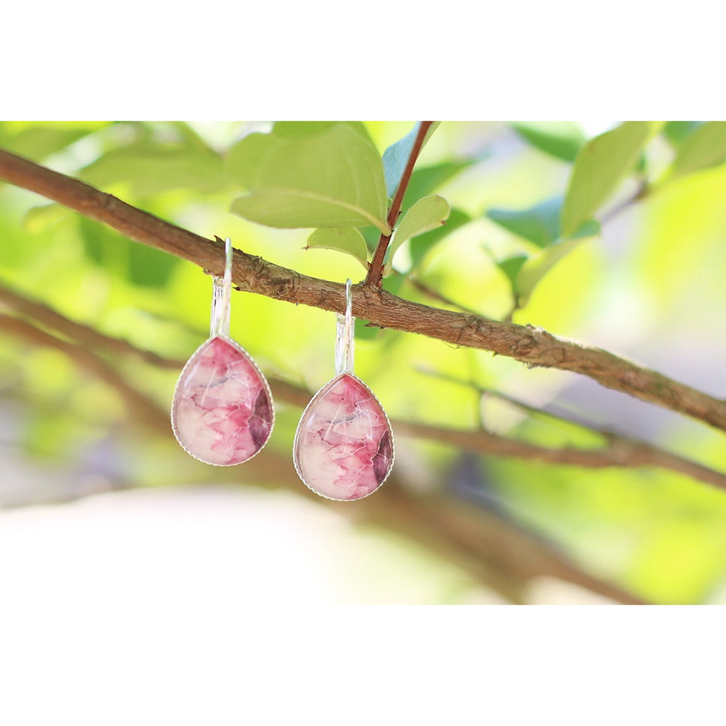 Teardrop Druzy Earrings - Marbled Rose