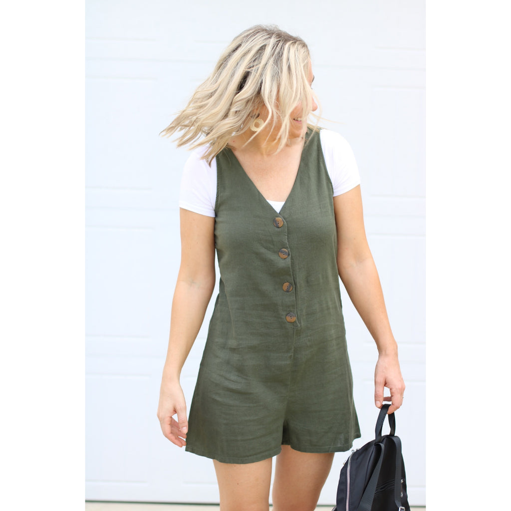 Button Down Linen Jumper - Fall Olive