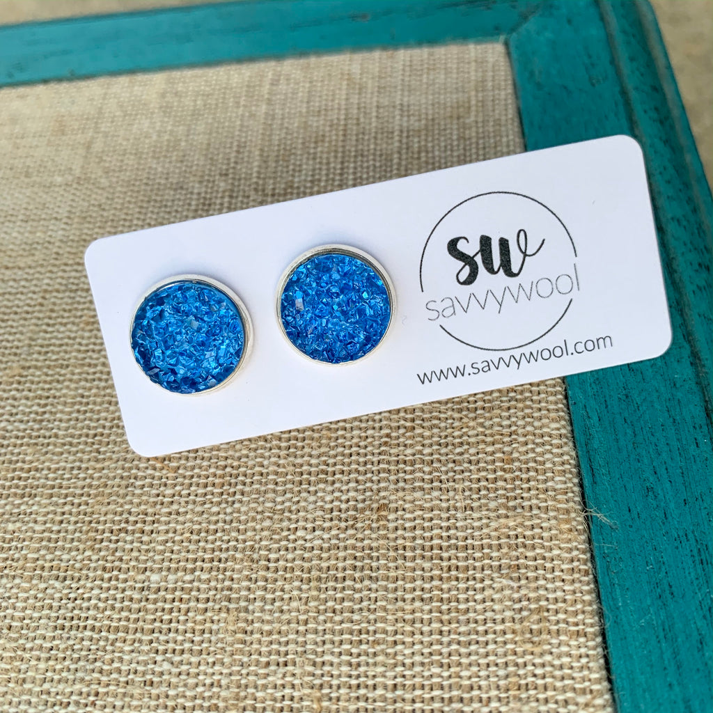 12MM Druzy Earrings - Ocean