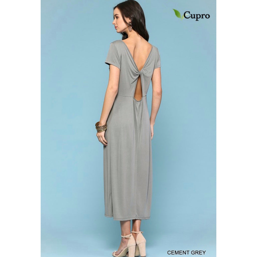 Open Back Midi Dress - Cement Gray