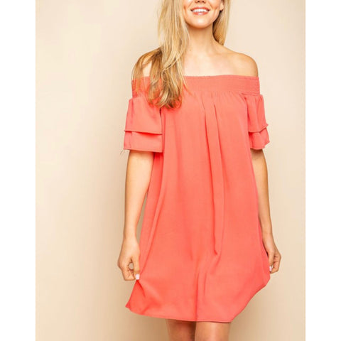 Smocked Cold Shoulder Dress - Coral