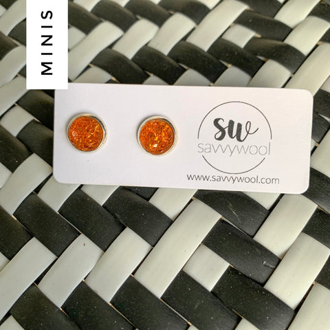 8MM Druzy Earrings - Orange