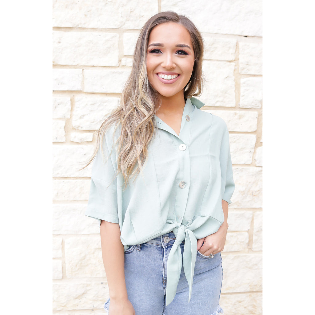 Button Down Front Loose Top - Sage Wood